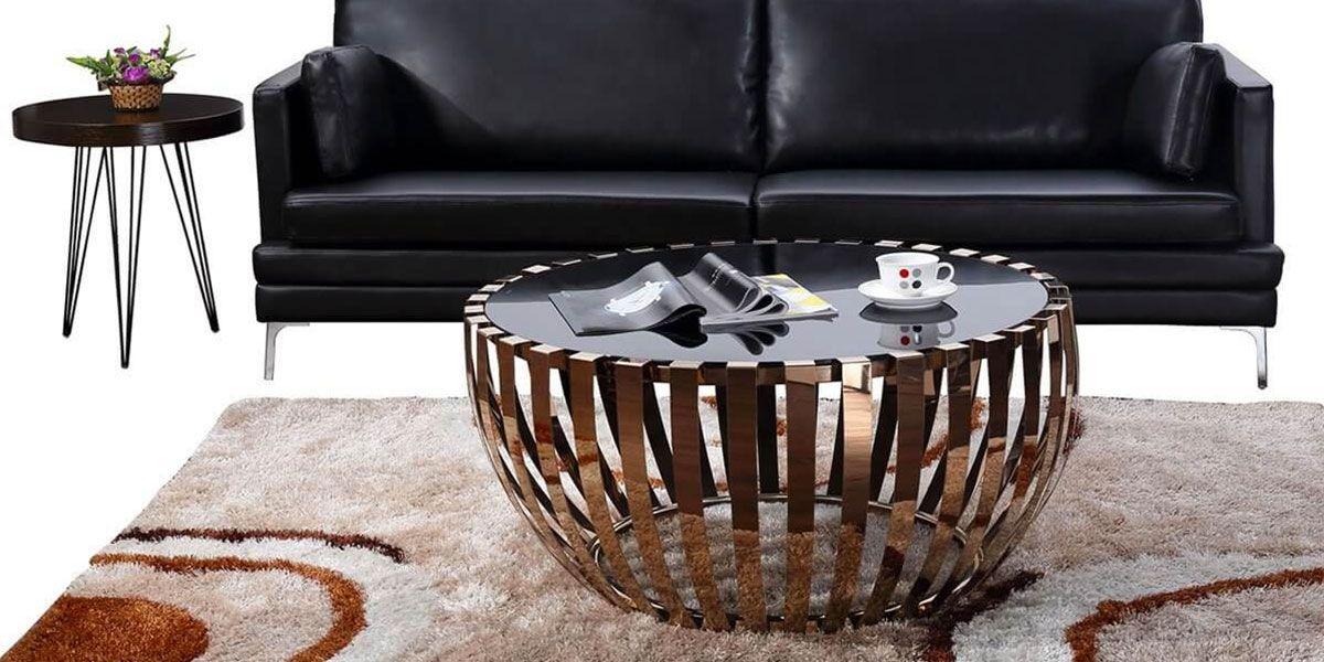Table basse verre et acier TRENDY - Noir/Doré