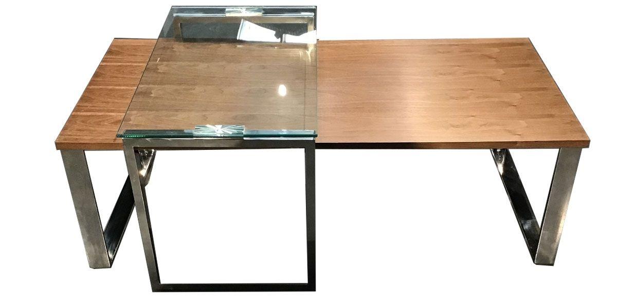 Table basse bois et verre KIM - Noyer/Transparent