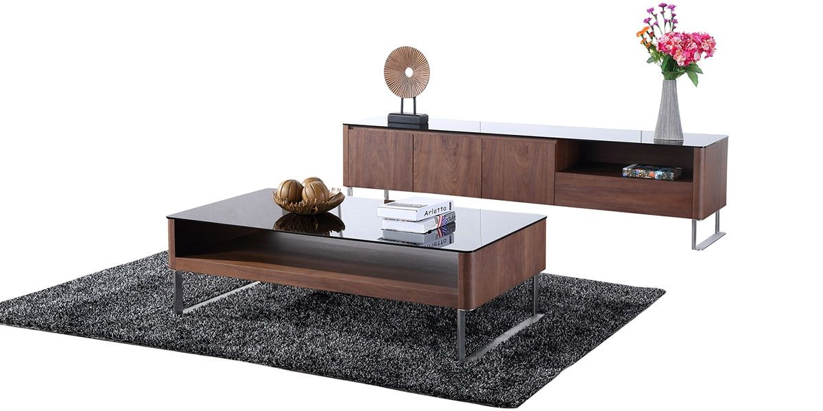 Table basse bois et verre KARY - Noyer/Transparent