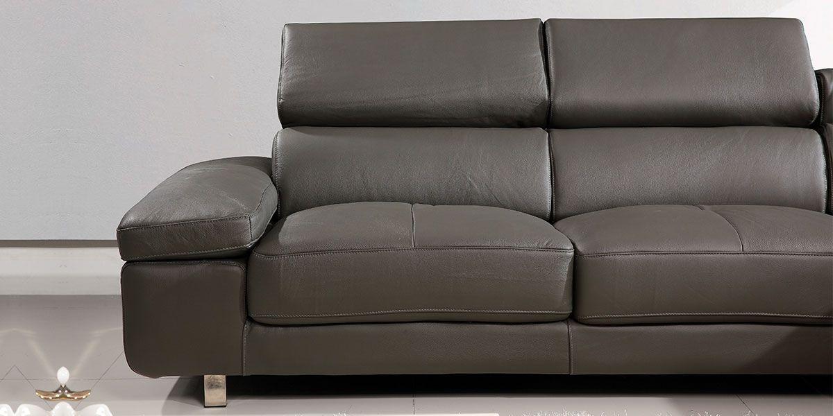 Canapé d'angle droit en cuir GIANNI - Gris souris