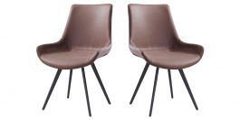 Chaise Design NOOR - Marron clair - Lot de 2
